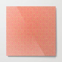 Coral And Gold Moroccan Chic Pattern Metal Print