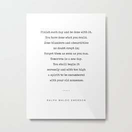 Ralph Waldo Emerson Quote 01 - Minimal, Sophisticated, Modern, Classy Typewriter Print - Motivation Metal Print