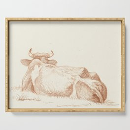 Vintage Cow Drawing Serving Tray