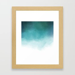 Modern blue greenery watercolor ombre wash Framed Art Print
