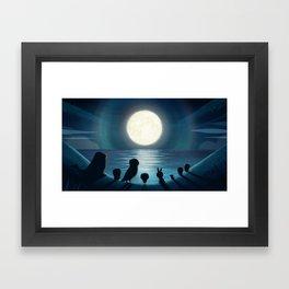 Moonlight hits Puffin Rock Framed Art Print