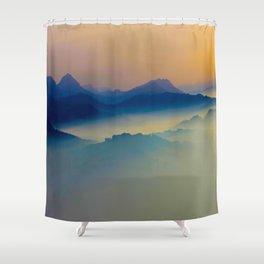 Minimalist Misty Foggy Mountain Landscape Purple Blue Turquoise Shower Curtain