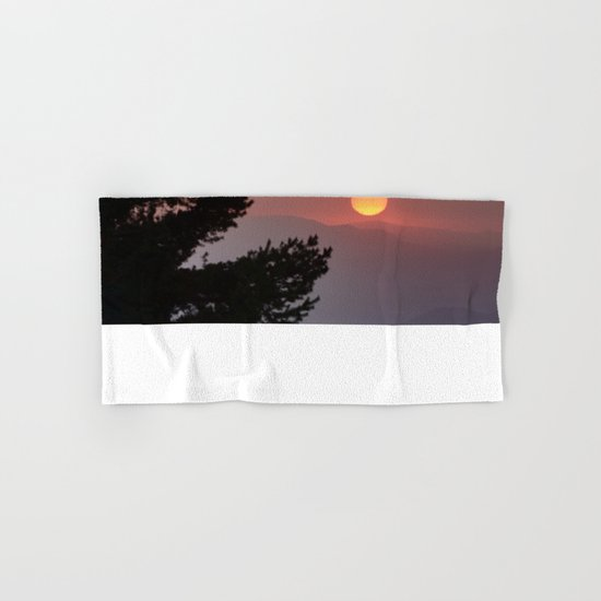 """""""Sun through the clouds and trees"""" Sunset at the mountains Hand & Bath Towel"""