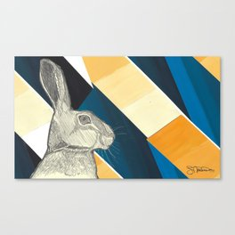 stand up straight   blue (rabbit & hare series) Canvas Print