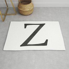 Letter Z Initial Monogram Black and White Rug
