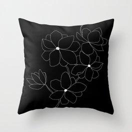 Black Floral Throw Pillow
