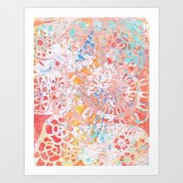 Monoprint 3 - Red Yellow Blue Monoprint Art Print