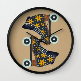 Retro Roller Skates – Teal & Yellow Palette Wall Clock