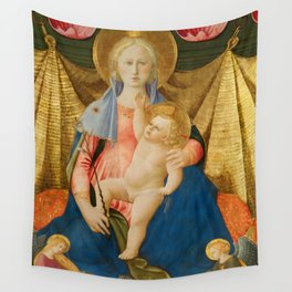 The Madonna of Humility with Two Musician Angels Wall Tapestry
