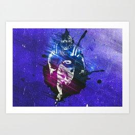 Running On Blue BG Poster Art Print