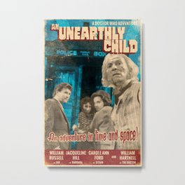 "Doctor Who ""An Unearthly Child"" Retro Vintage Movie Poster Metal Print"