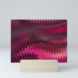 Rosy dreams. Wavy zigzag print Mini Art Print