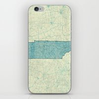 tennessee iPhone & iPod Skins featuring Tennessee State Map Blue Vintage by City Art Posters