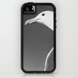 Flying seagull in black and white iPhone Case