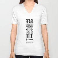 stephen king V-neck T-shirts featuring Lab No. 4 - Hope Inspirational Quote by Stephen King Inspirational Quotes by Lab No. 4