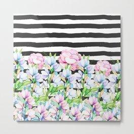 Black white brushstrokes lavender pink watercolor floral stripes Metal Print