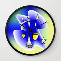 astrology Wall Clocks featuring Astrology, Aquarius by Karl-Heinz Lüpke