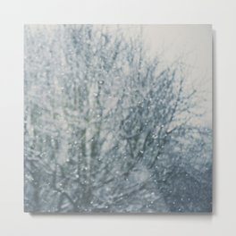 an abstract photograph of a tree & falling sn Metal Print