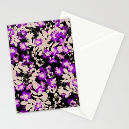 purple canary creeper flower with silhouette leaves on black Stationery Cards