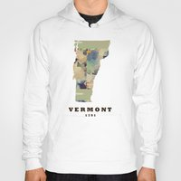 vermont Hoodies featuring Vermont state map by bri.buckley