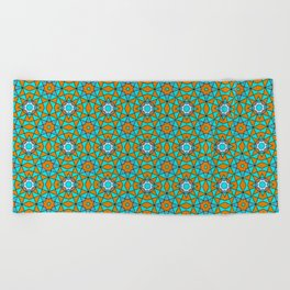 Moroccan Tile 1A - Blue Beach Towel
