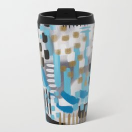 Blue and Gold Beach House Abstract Painting Travel Mug