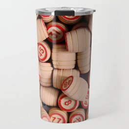 wooden crock of Russian lotto scattered Travel Mug