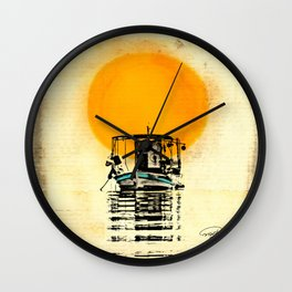Sunset Boat Silhouette Wall Clock