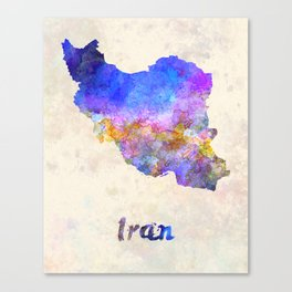Iran in watercolor Canvas Print