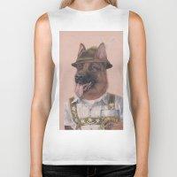 german shepherd Biker Tanks featuring German Shepherd by Rachel Waterman