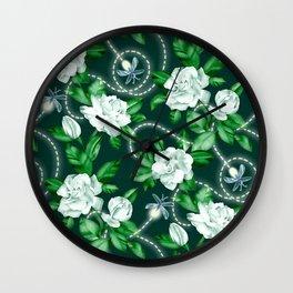 Midnight Sparkles - Gardenias and Fireflies in Emerald Green Wall Clock