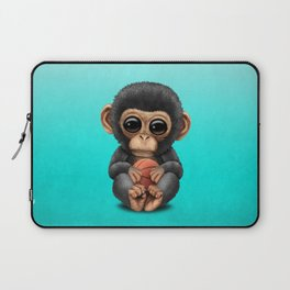 Cute Baby Chimp Playing With Basketball Laptop Sleeve