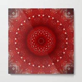 Holiday Red Mandala Metal Print
