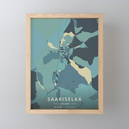 Saariselka, Finland - Cream Blue Framed Mini Art Print