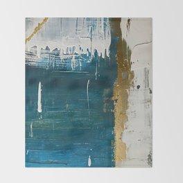 Rain [3]: a minimal, abstract mixed-media piece in blues, white, and gold by Alyssa Hamilton Art Throw Blanket