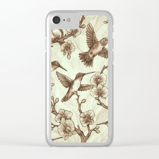 Sepia Hummingbird Pattern Clear iPhone Case
