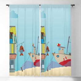 Gone Fishing - Seaside Artwork Blackout Curtain