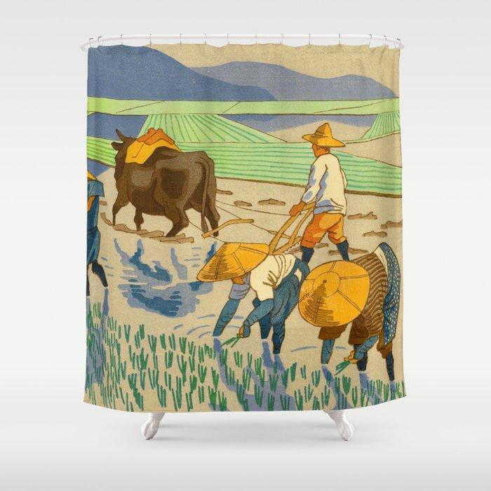 Asano Takeji Rice Transplantation Vintage Japanese Woodblock Print Asian Farmers Sedge Hat Shower Curtain