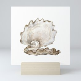 Watercolor Seashell Painting on White 2 Minimalist Coast - Sea - Beach - Shore Mini Art Print