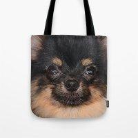 pomeranian Tote Bags featuring Pomeranian by Pancho the Macho