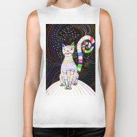 space cat Biker Tanks featuring Space cat by ezgi karaata