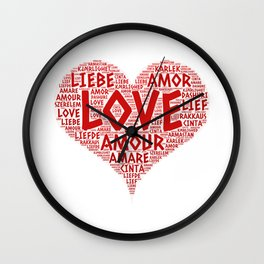 Heart illustrated with Love Word of different languages Wall Clock