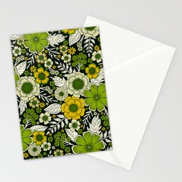 Modern Yellow & Green Floral Pattern Stationery Cards