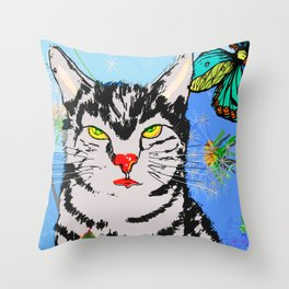 Kater in der Wiese Throw Pillow