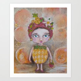 Pineapply Fancy Dress Art Print