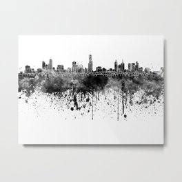 Melbourne skyline in black watercolor on white background Metal Print
