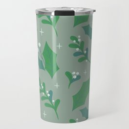 Abstract green white christmas holly berries floral illustration Travel Mug