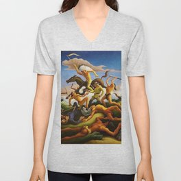 Classical Masterpiece 'Little Big Horn - Custer's Last Stand' by Thomas Hart Benton Unisex V-Neck