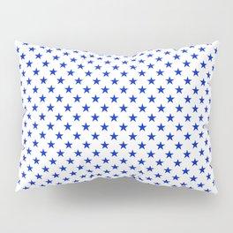 Cobalt Blue Star Pattern on White Pillow Sham