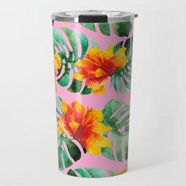 Tropical Monstera Bloom Travel Mug